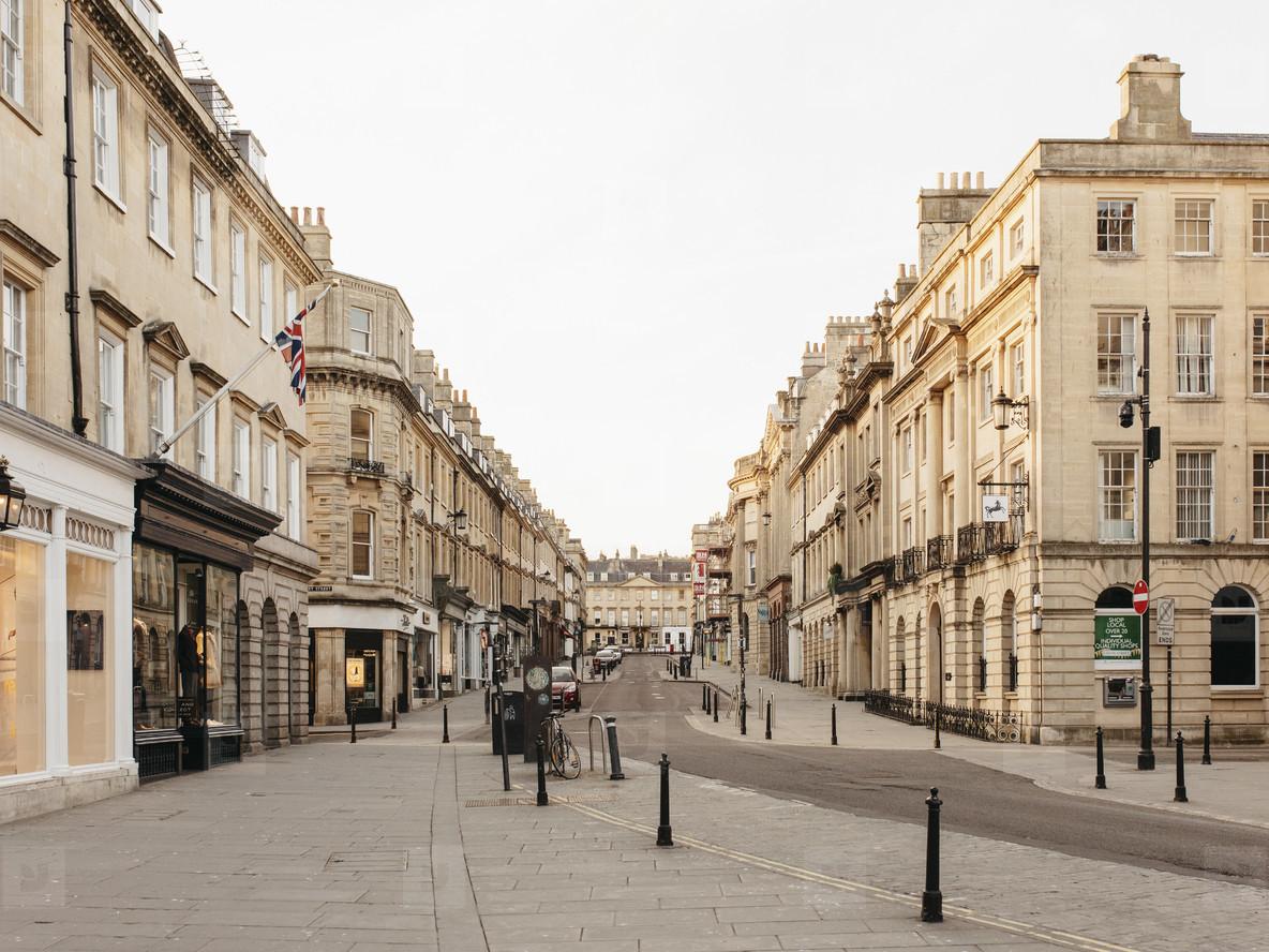 Buildings along empty street Bath Somerset  UK