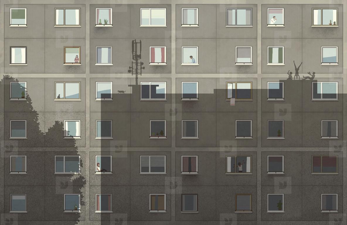 Shadows on apartment building