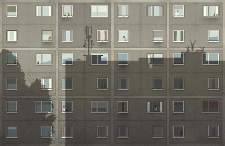 Shadows on apartment building