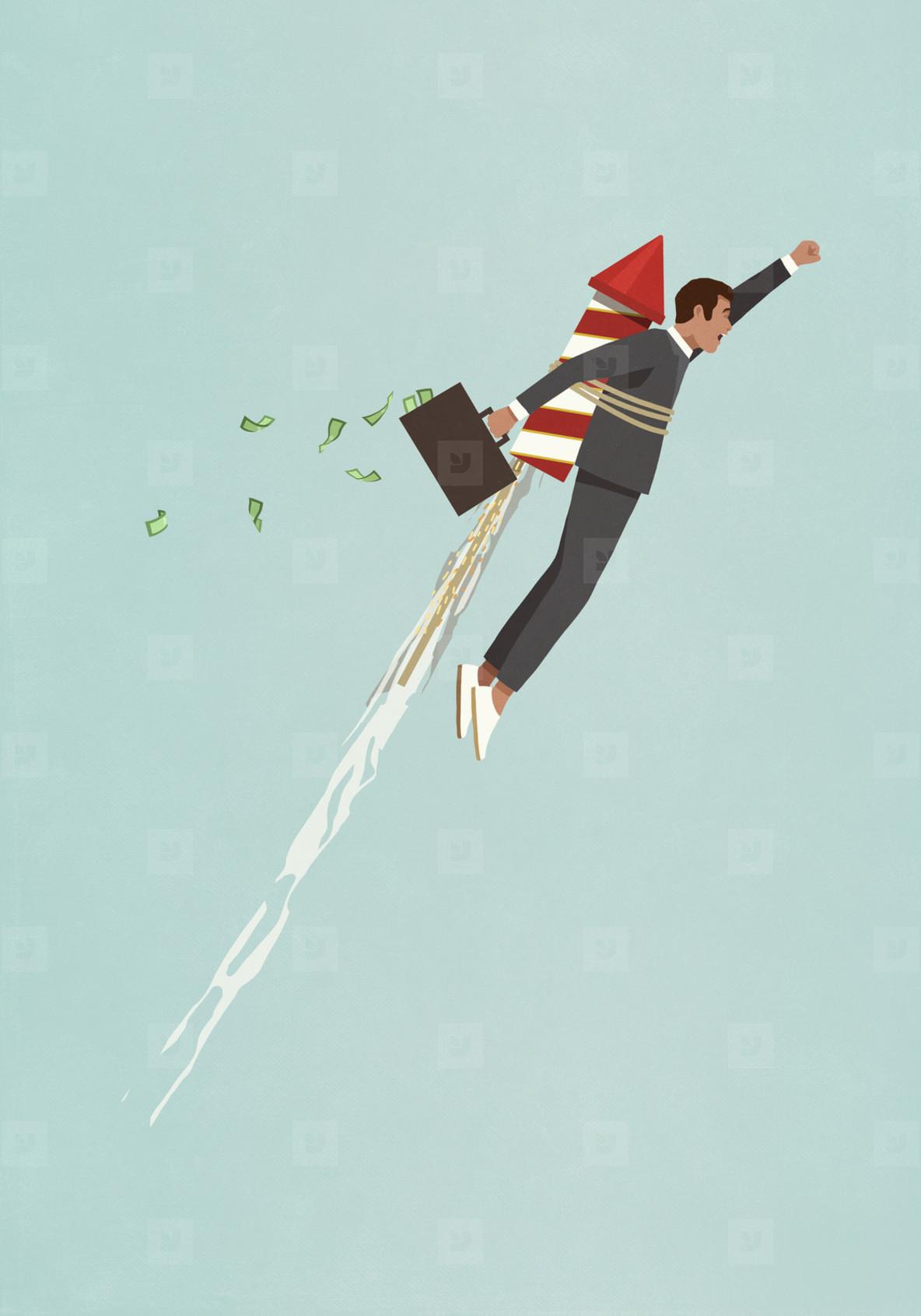 Businessman with rocket accelerating upwards