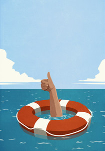 Sinking man below life ring gesturing thumbs up
