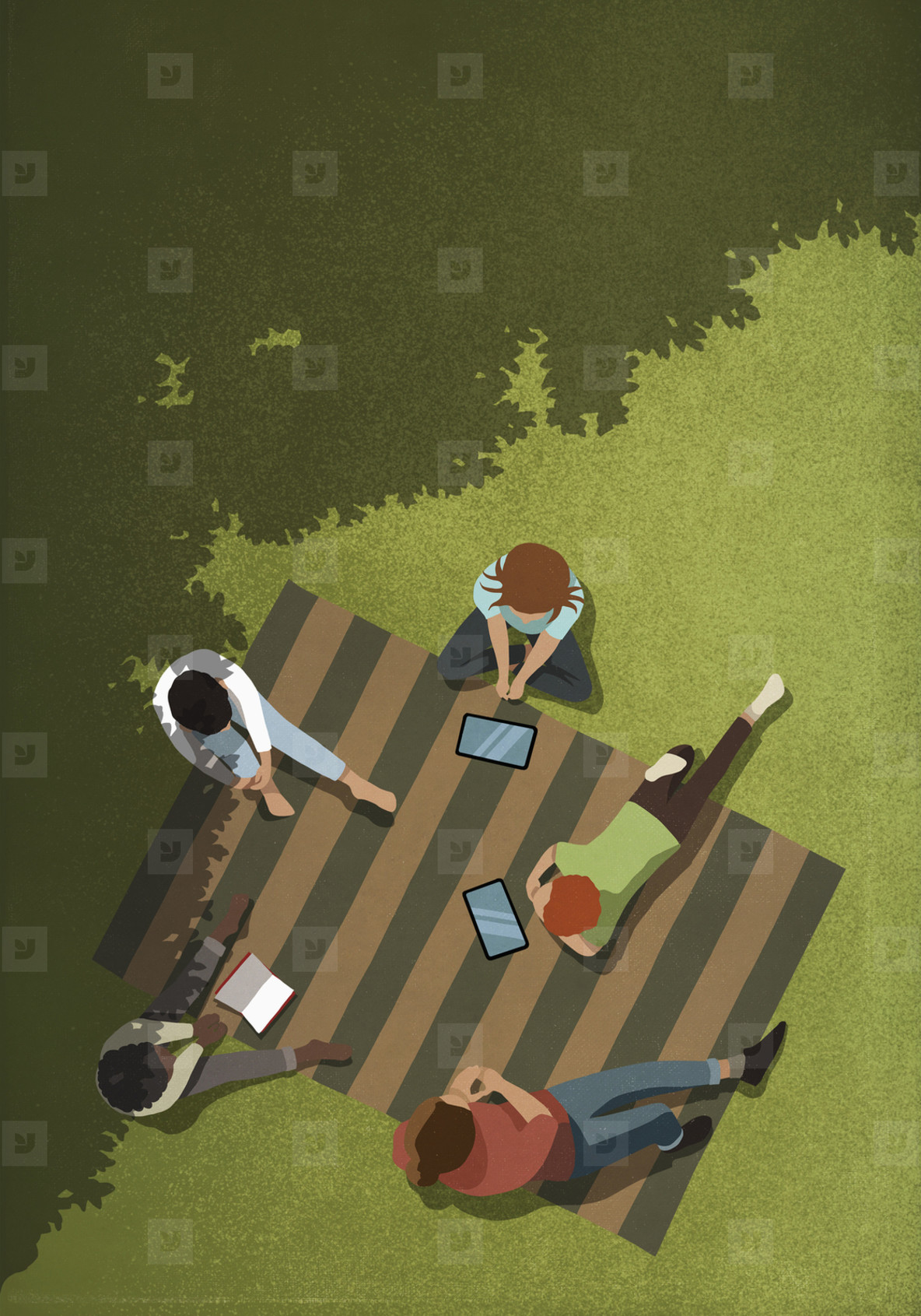 Friends social distancing with book and digital tablets in park