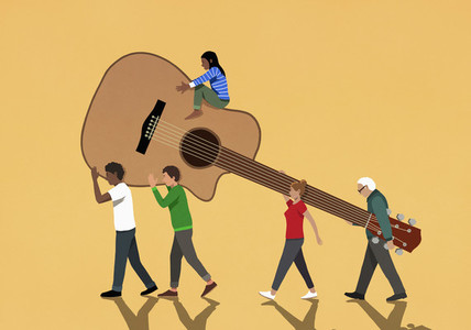 Community carrying large guitar