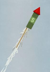 Dollar sign rock ascending upwards