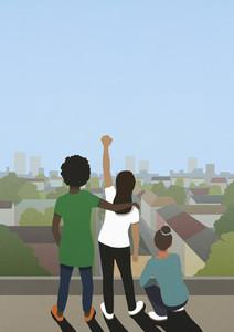 Black Lives Matter friends gesturing on city rooftop