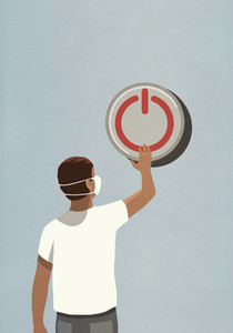 Man with face mask pushing large power off button