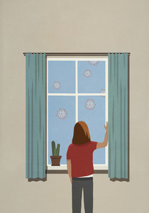 Woman at window watching floating coronavirus particles