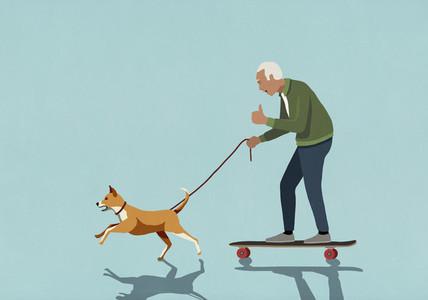 Dog on leash pulling excited senior man on skateboard