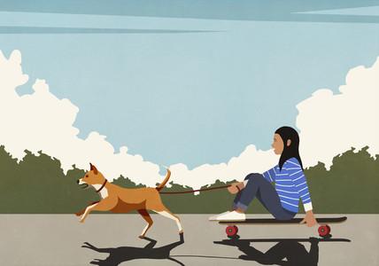 Dog on leash pulling girl riding skateboard