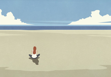 Serene woman sitting on summer beach