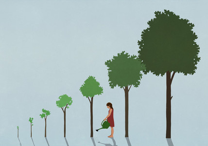 Girl watering sequence of growing trees