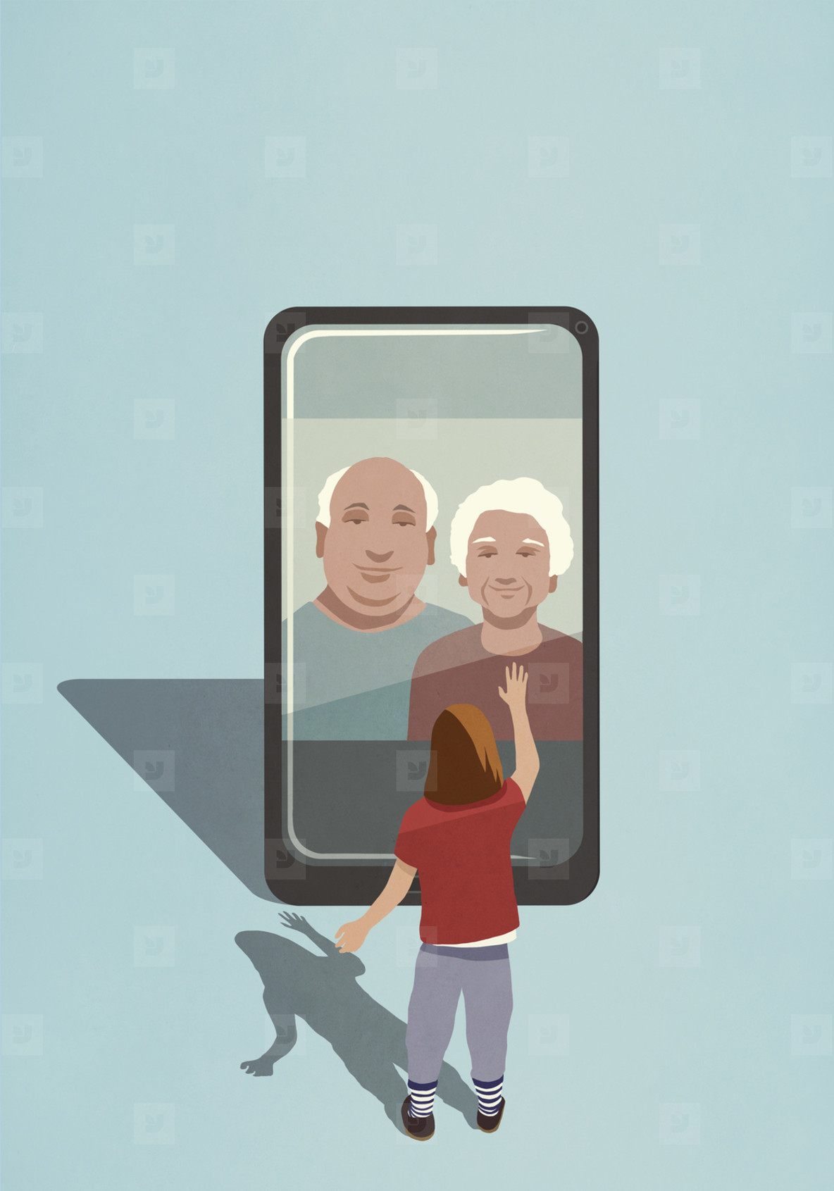 Girl video chatting with grandparents on smart phone screen
