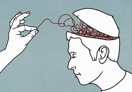 Finger pulling string from brain of man
