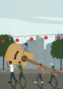 Community carrying large guitar in city