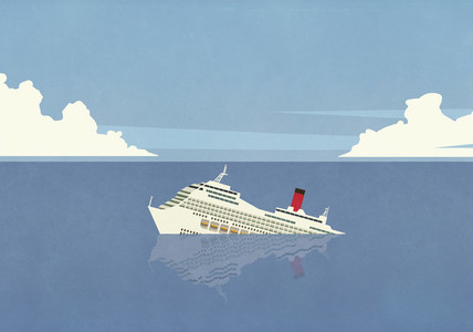 Cruise ship sinking in ocean