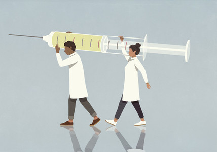 Doctors carrying large syringe
