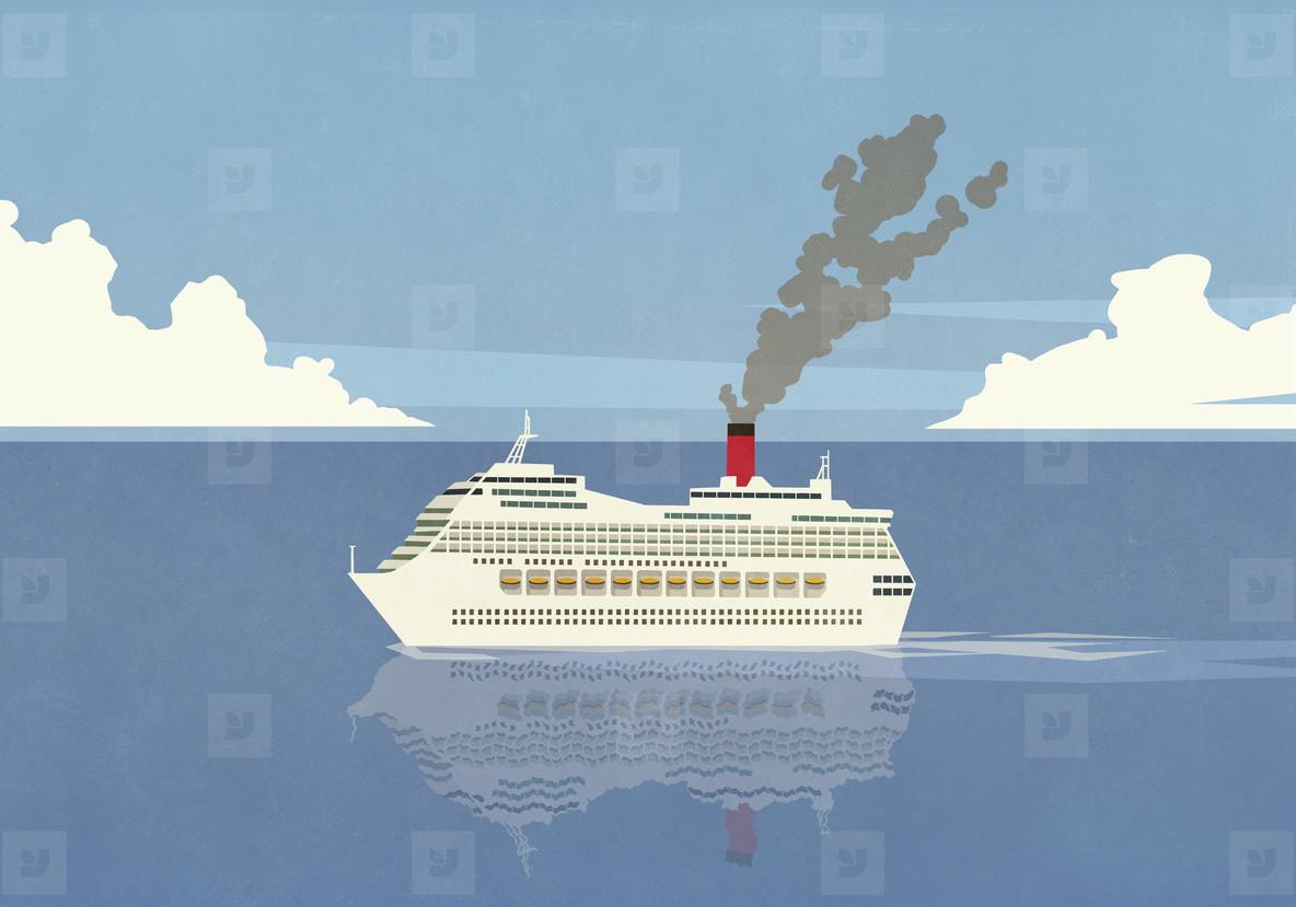 Smoke emitting from cruise ship smokestack on ocean