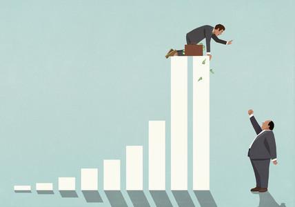 Businessman on top of bar graph waving at angry boss