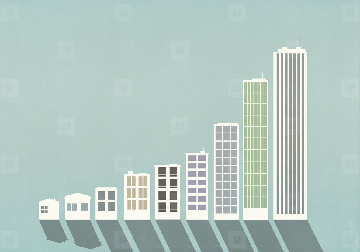 Ascending buildings forming bar graph