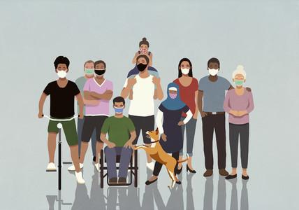 Portrait diverse community in face masks