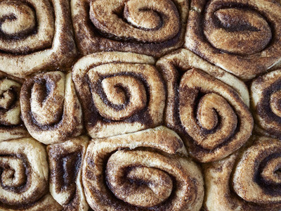View from above cinnamon rolls