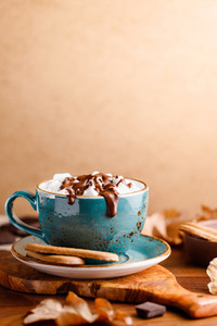 Close up of hot chocolate with marshmallows on the table with copy space Autumn or winter cozy still life