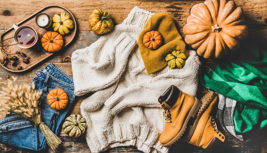 Flat lay of fall trendy women outfit layout