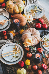 Fall table setting for Thanksgiving day party  top view