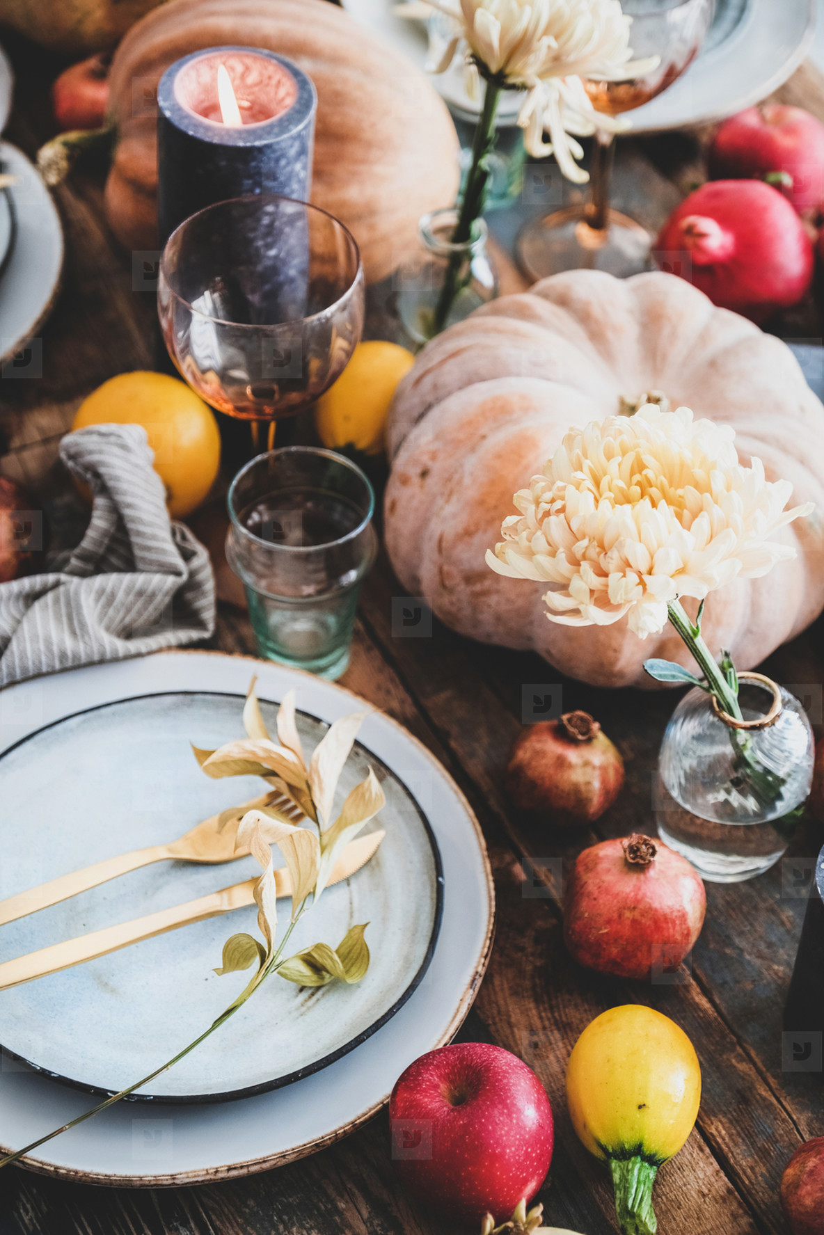 Fall table setting for Thanksgiving day party  close up