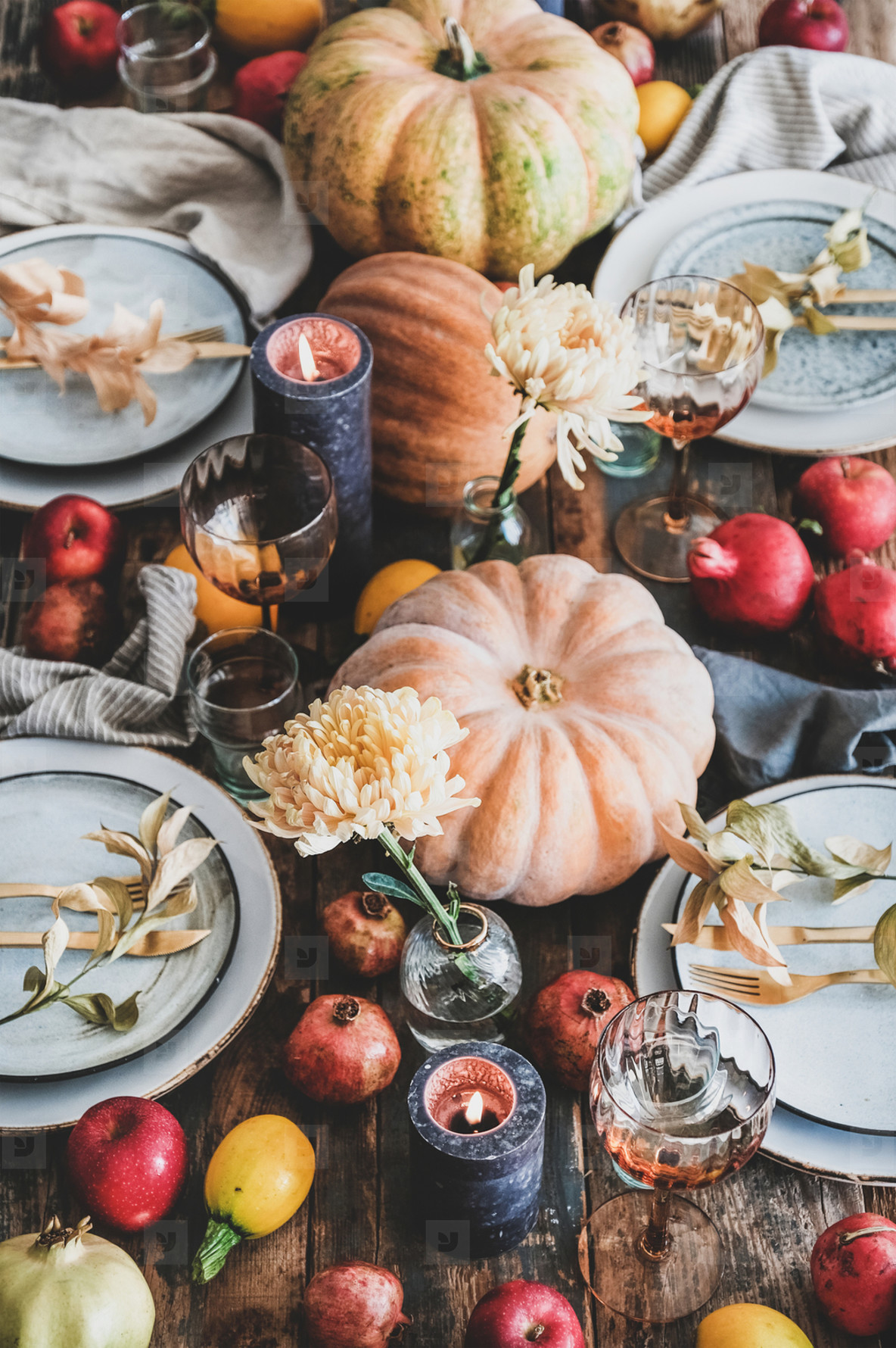 Fall table setting for Thanksgiving day party
