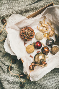 Christmas tree decoration toys  balls and pine cones in box