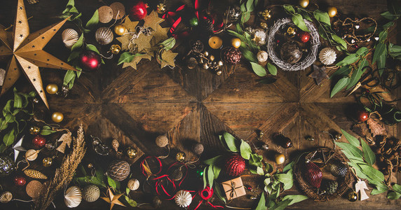 Flat lay of Christmas New Year holiday texture over rustic background