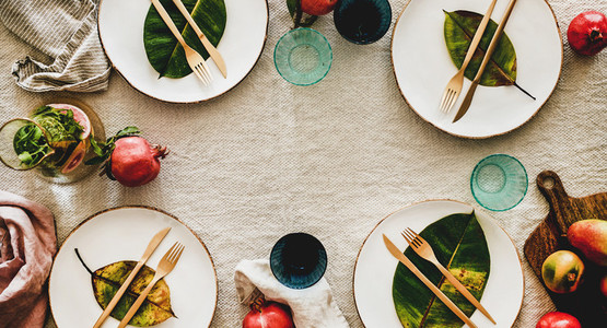 Autumn table styling or setting for holiday celebration wide composition