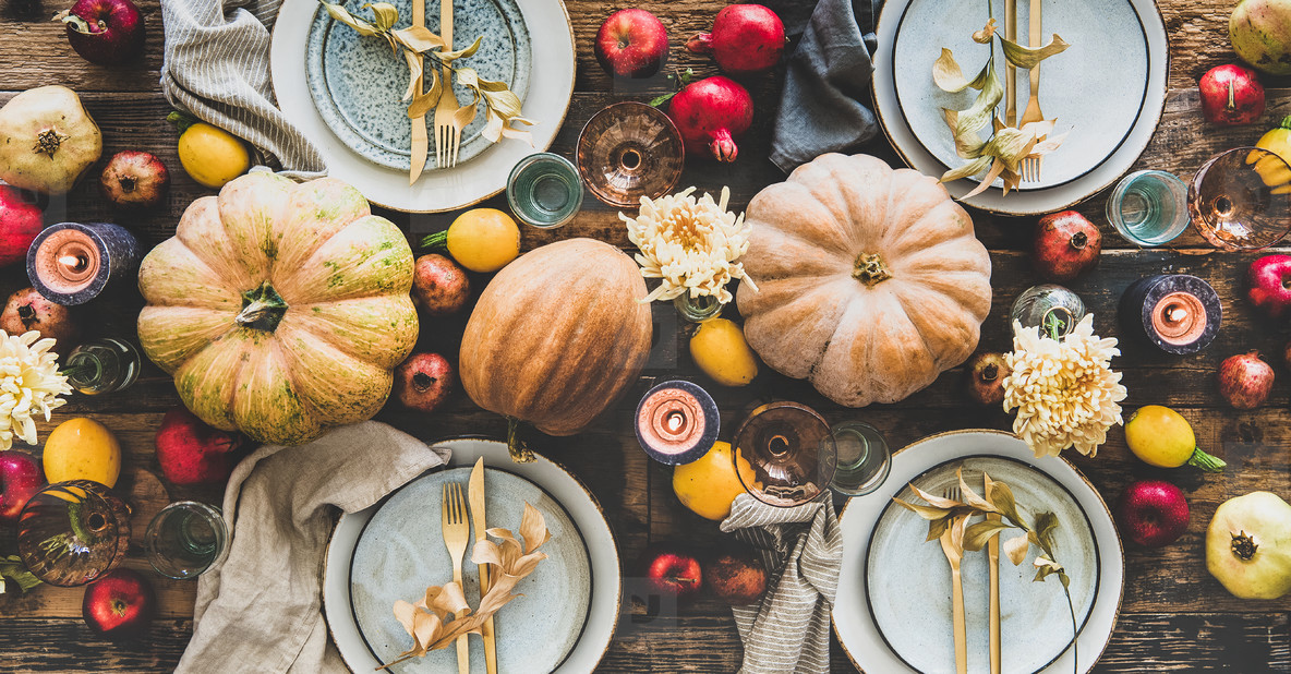 Table setting for Thanksgiving day or family dinner  wide composition
