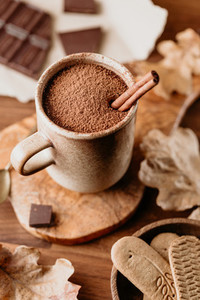 Close up of hot chocolate on the table Autumn or winter cozy still life