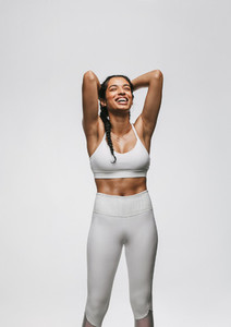 Monochrome portrait of fitness woman