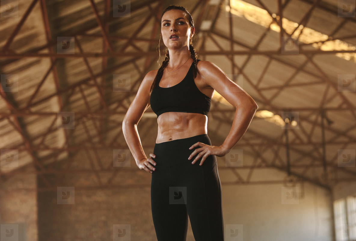 Fitness woman taking rest after intense workout
