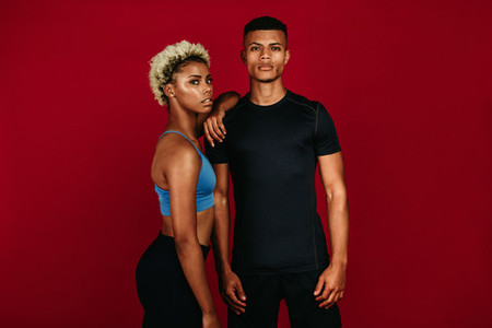 African american fitness couple standing together