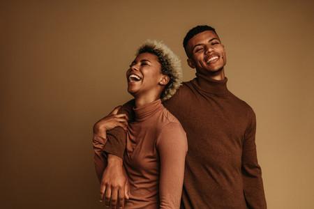 Monochrome portrait of happy african american couple