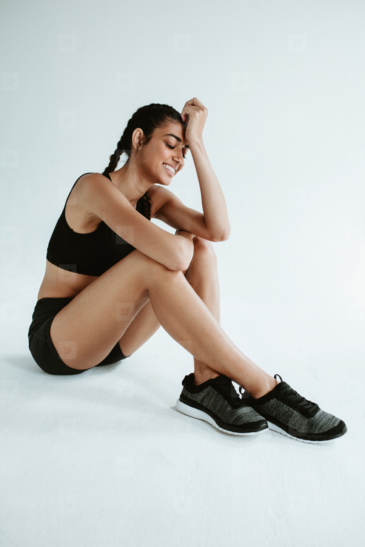 Athlete taking a break from sports training workout