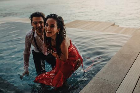 Couple enjoying holiday at a luxury sea resort
