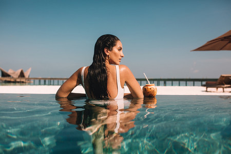 Woman on a holiday at a luxury resort