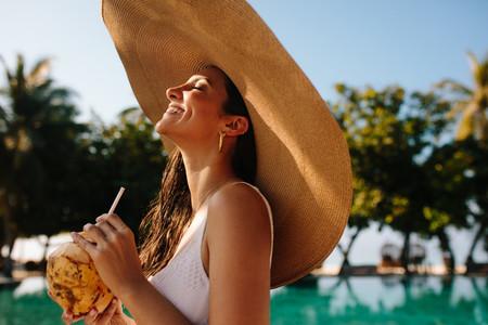 Portrait of a tourist woman at a resort
