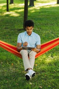 Male student sitting