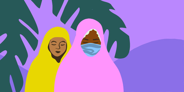 Two young veiled Muslim girls