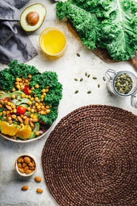 Food background with healthy vegetarian salad and ingredient Top view place for text