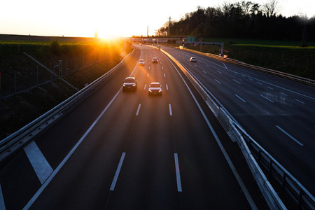 Sunset over a Swiss Highway