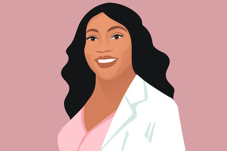 Smiling black female doctor