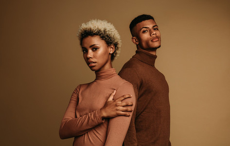 African american couple in fashionable clothes