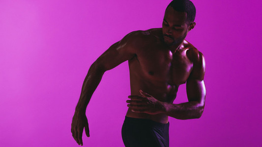 Muscular man doing fitness workout